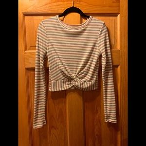 Striped Long-Sleeve Cropped Shirt